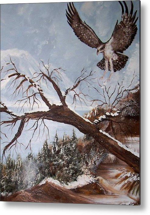 Eagle Metal Print featuring the painting Winter Nesting by Martha Mullins