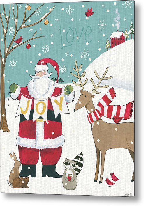 Animals Metal Print featuring the painting Woodland Christmas X by Anne Tavoletti