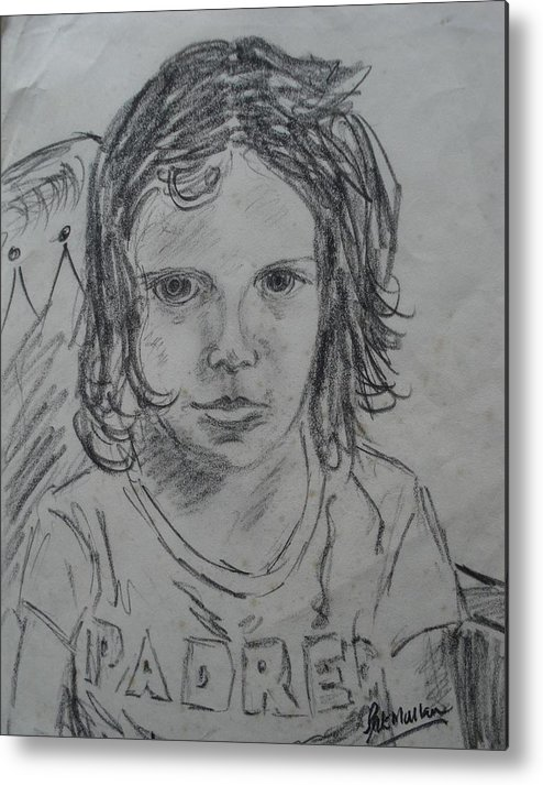 Life Metal Print featuring the drawing Young Fan by Pat Mullan