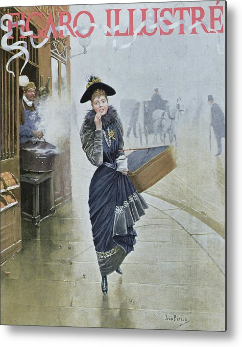 Street Scene Metal Print featuring the painting Young Parisian Hatmaker by Jean Beraud