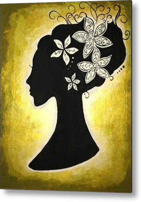 Silhouette Metal Print featuring the painting Bella Dama by Brandy Nicole Neal