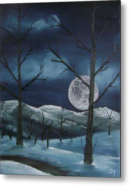 Landscape Metal Print featuring the painting Winter Night by Charles and Melisa Morrison