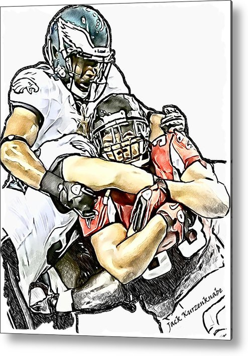 Atlanta Falcons Metal Print featuring the digital art Atlanta Falcons Philadelphia Eagles Brian Rolle And Jarrad Page by Jack K