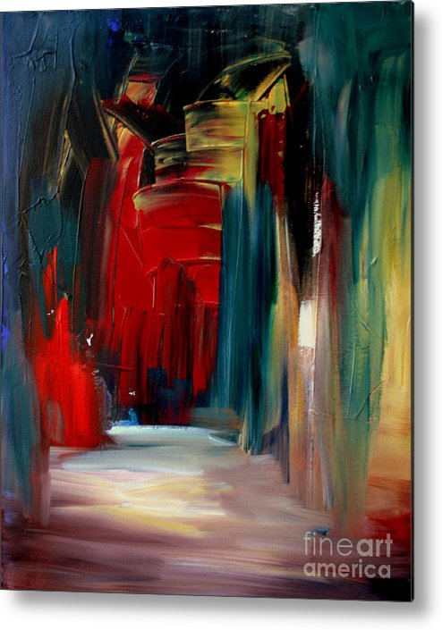 Abstract Metal Print featuring the painting Back Doors Are For Slamming by Julie Lueders