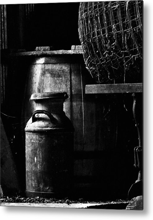 Antique Metal Print featuring the photograph Barrel In The Barn by Jim Finch