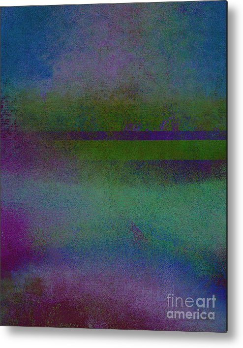 Landscape Art Metal Print featuring the mixed media Blue Scape II by Ricki Mountain