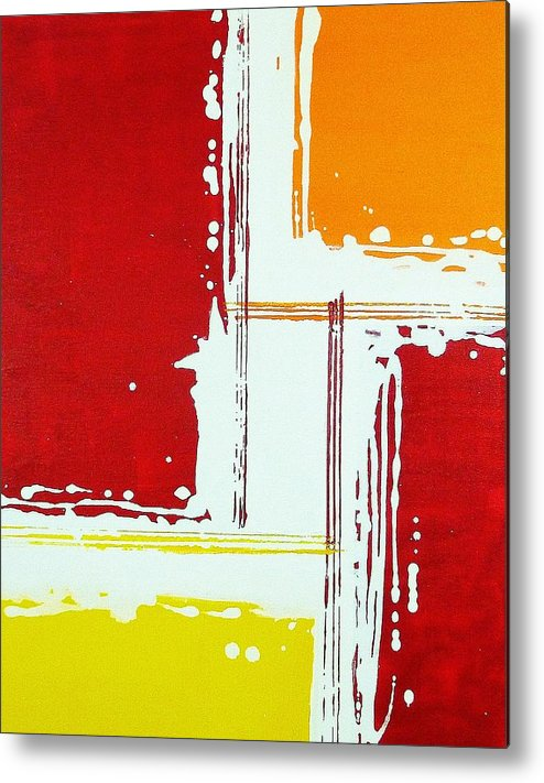 Red Metal Print featuring the painting Boxed by Michael Scullari