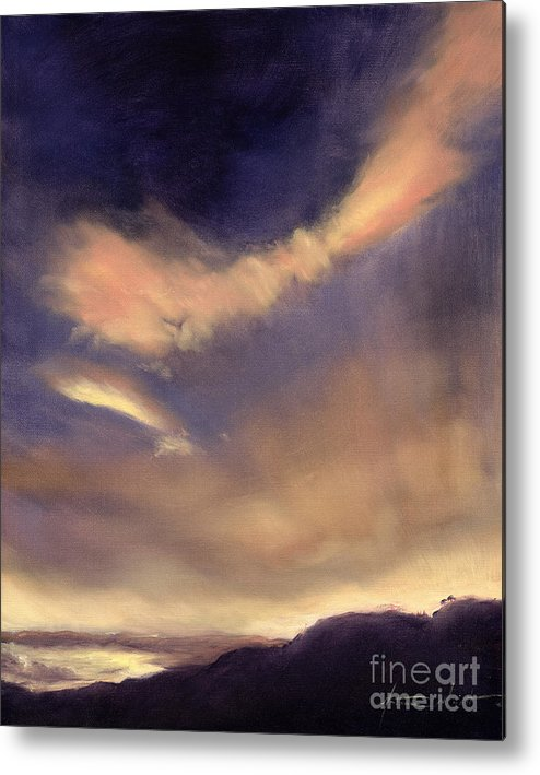 Cloud; Formation; Sunset; Dusk; Orange Sky; Atmospheric; Clouds; Cloudscape Metal Print featuring the painting Butterfly Clouds by Antonia Myatt