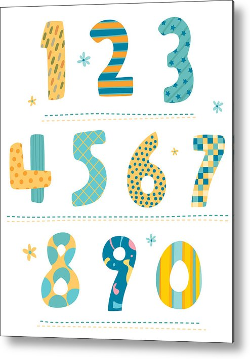Vertical Metal Print featuring the digital art Close-up Of Numbers by Eastnine Inc.