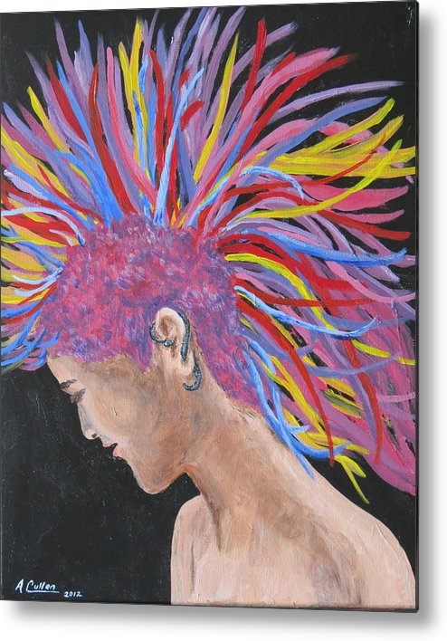 Punk Metal Print featuring the painting Colourful Mohawk by April Cullen