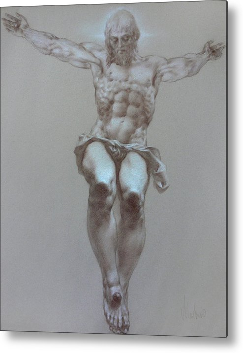 Symbolism Metal Print featuring the drawing Crucifixion by Valeriy Mavlo