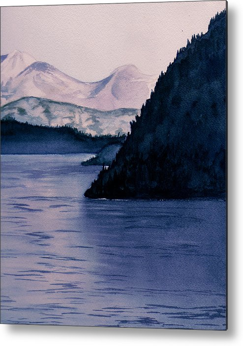Watercolor Metal Print featuring the painting End Of Day by Brenda Owen