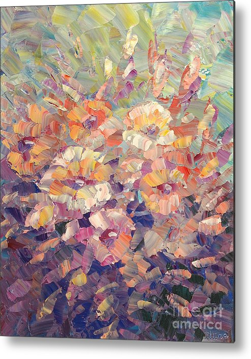 Floral Metal Print featuring the painting Flying Glory by Tatiana Iliina