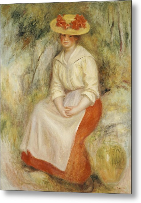 Impressionist; Impressionism; Portrait; Female; Seated; Sitting; Full Length Metal Print featuring the painting Gabrielle In A Straw Hat by Pierre Auguste Renoir