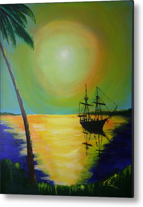 Boat Metal Print featuring the painting Golden Anchorage by Tony Baker