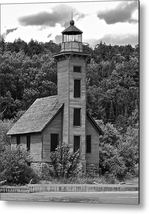 Grand Island Lighthouse Metal Print featuring the photograph Grand Island Lighthouse Bw by Michael Peychich