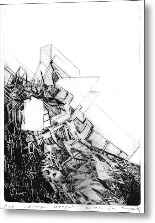 Abstract Metal Print featuring the drawing Graphics Europa 2014 by Waldemar Szysz