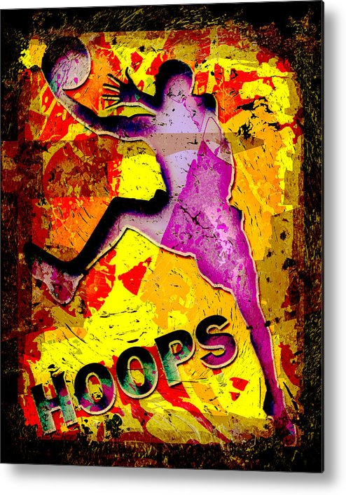 Hoops Metal Print featuring the photograph Hoops Basketball Player Abstract by David G Paul