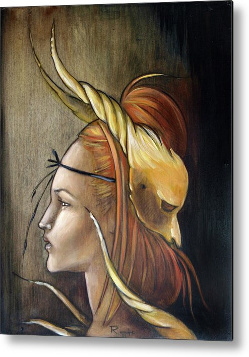 Mask Metal Print featuring the painting Horned Beast by Jacque Hudson