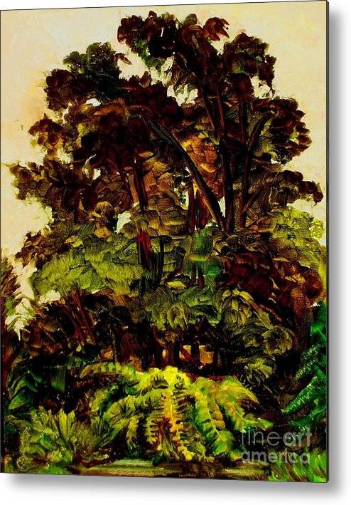 Landscape Metal Print featuring the painting In Th Trees by Nelson Dale