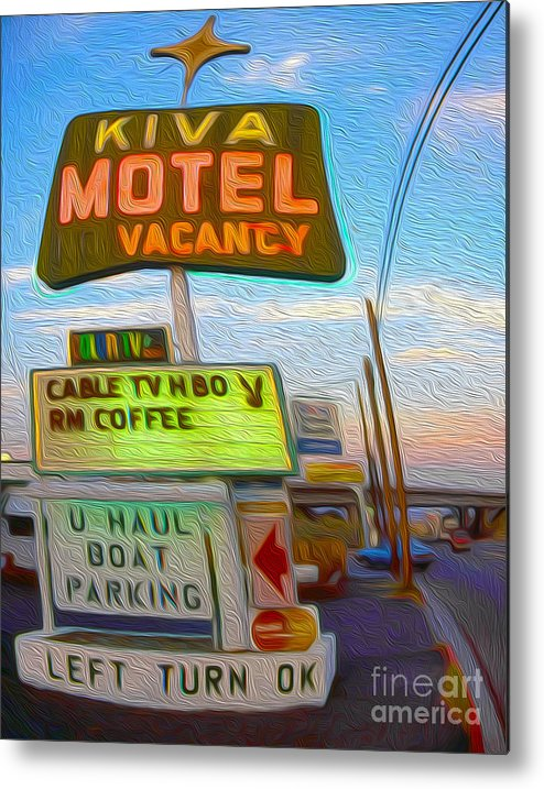 Kiva Motel Metal Print featuring the painting Kiva Motel - Needles Ca by Gregory Dyer