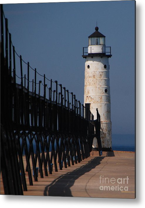 Lighthouse Metal Print featuring the photograph Manistee Harbor Lighthouse And Cat Walk by Grace Grogan