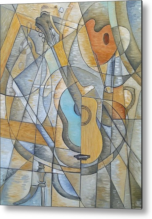 Guitar Metal Print featuring the painting My Love Affair With Art by Natalie L