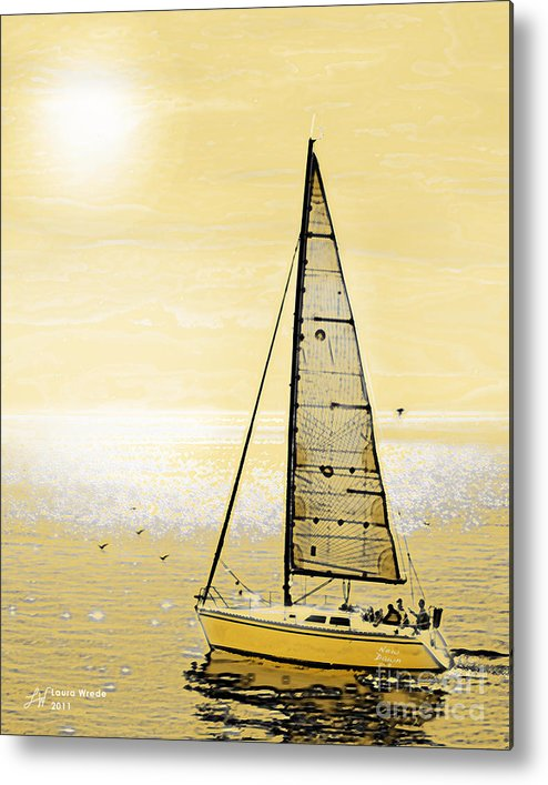 Sailing Metal Print featuring the painting New Dawn by Artist and Photographer Laura Wrede
