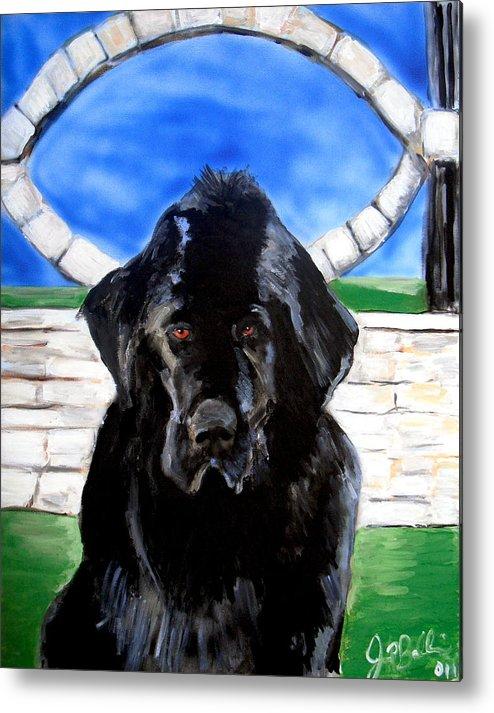 Dog Metal Print featuring the painting Newfoundland by Jon Baldwin Art