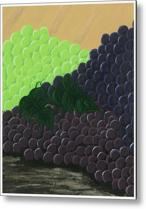 Grapes Metal Print featuring the painting Pile Of Wine Grapes by Starla Rodriguez