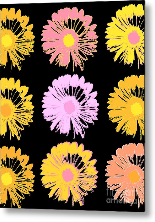 Pop Art Floral Metal Print featuring the mixed media Pop Art Floral I -daisies -ii by Ricki Mountain