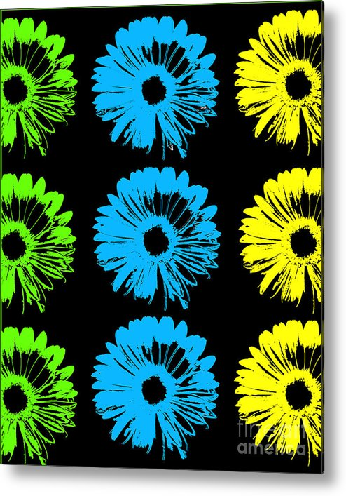 Daisy Pop Art Metal Print featuring the mixed media Pop Art Floral I by Ricki Mountain