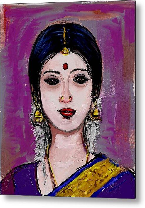 Portrait Of An Indian Woman Metal Print featuring the painting Portrait Of An Indian Woman by Usha Shantharam