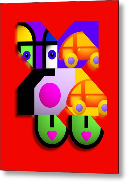 Pop Metal Print featuring the painting Red Collage by Charles Stuart