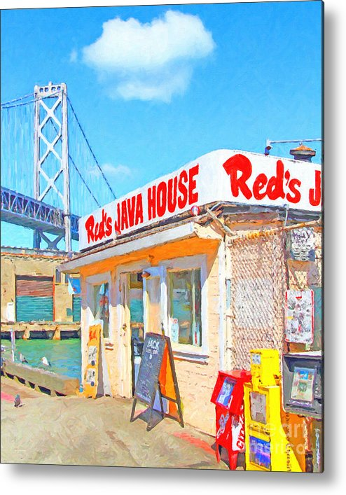 San Francisco Metal Print featuring the photograph Reds Java House And The Bay Bridge At San Francisco Embarcadero by Wingsdomain Art and Photography