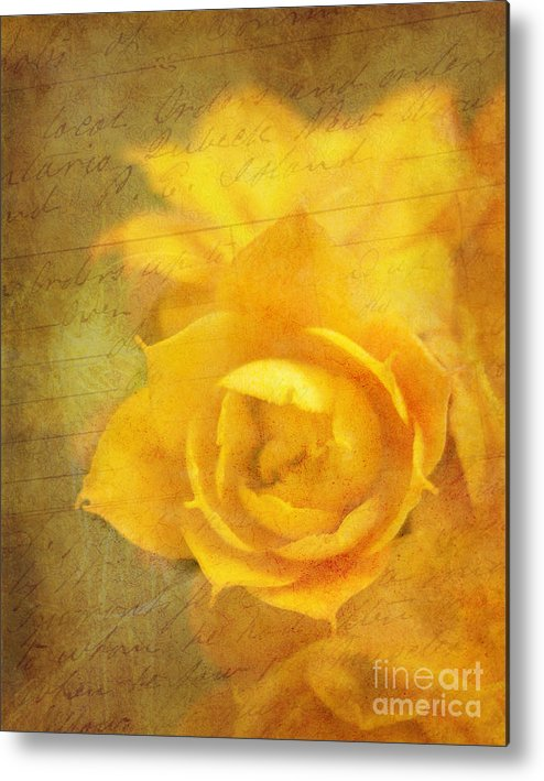 Yellow Metal Print featuring the photograph Roses For Remembrance by Judi Bagwell