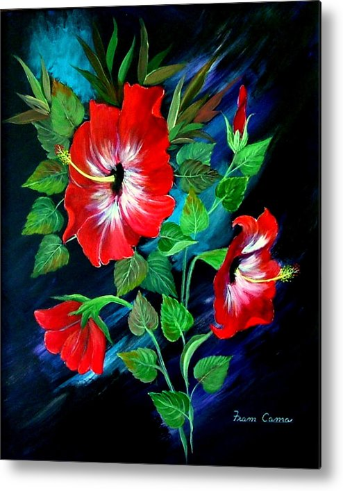 Flora;--still Life--nature Metal Print featuring the painting Scarlet Hibiscus by Fram Cama