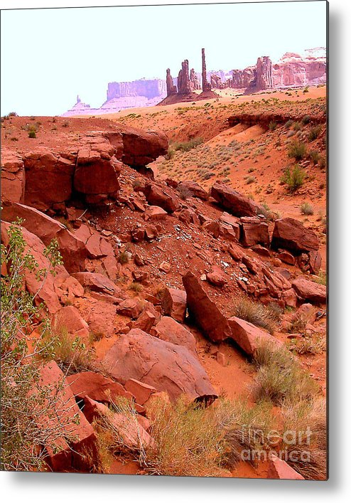 Monument Valley Metal Print featuring the photograph Sinkhole In Monument Valley by Merton Allen