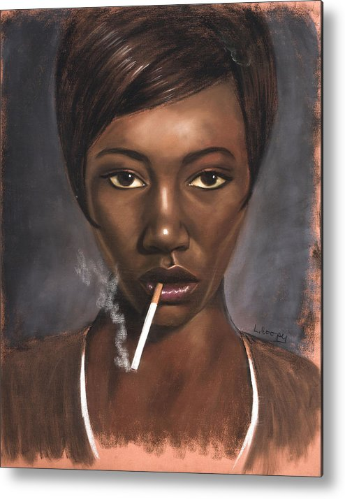 L Cooper Metal Print featuring the pastel Sister With Cigarette by L Cooper