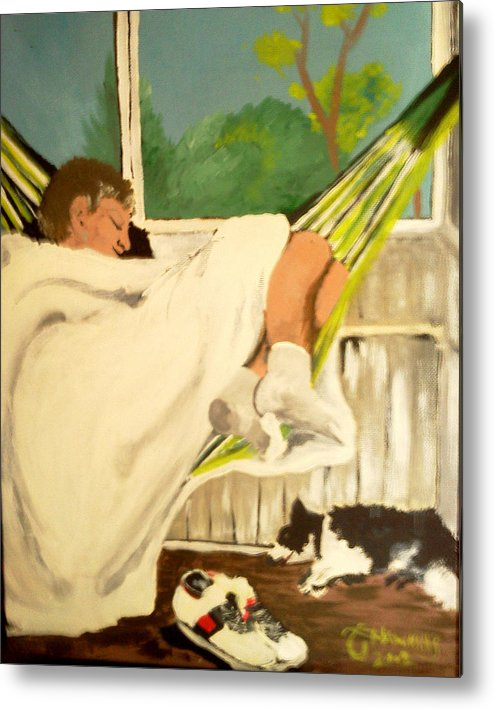 Hammock Metal Print featuring the painting Spring Snooze by Timothy Hawkins