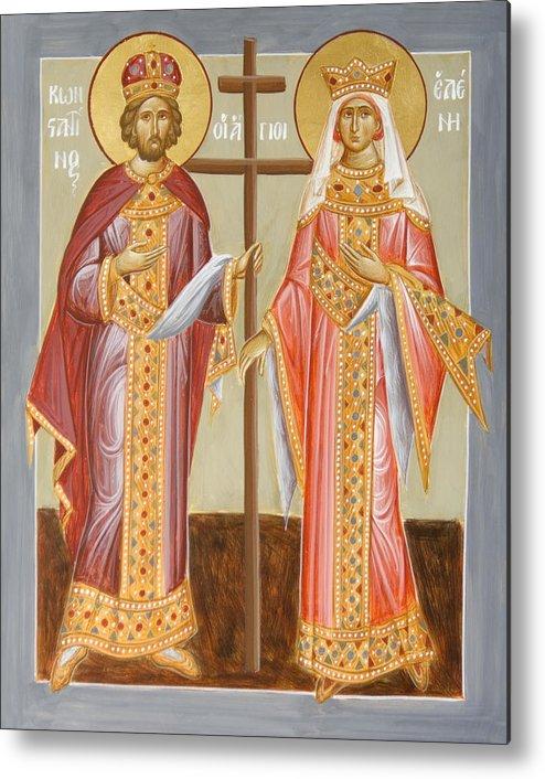 Sts Constantine And Helen Metal Print featuring the painting Sts Constantine And Helen by Julia Bridget Hayes
