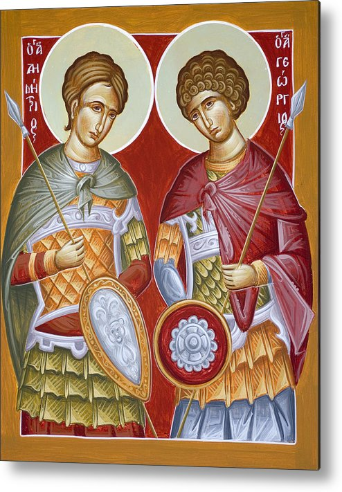 St Dimitrios Metal Print featuring the painting Sts Dimitrios And George by Julia Bridget Hayes