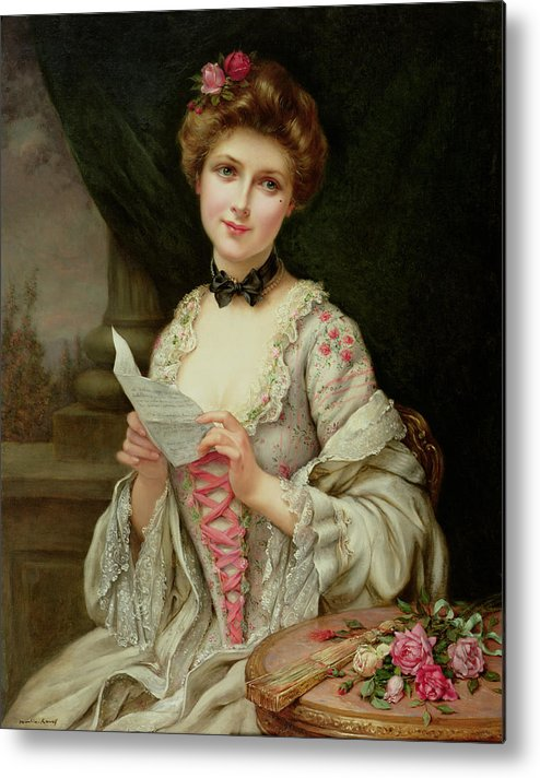 Billet Doux; Female; Seated; Sitting; Roses; Fan; Black Bow; Wistful; Pretty; Costume; Dress; Beauty; Jewellery; Jewelry; In Love; Valentine; Beauty Metal Print featuring the painting The Love Letter by Francois Martin-Kayel
