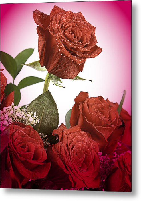 Rose Metal Print featuring the photograph The Red Rose Center Of Love by M K Miller