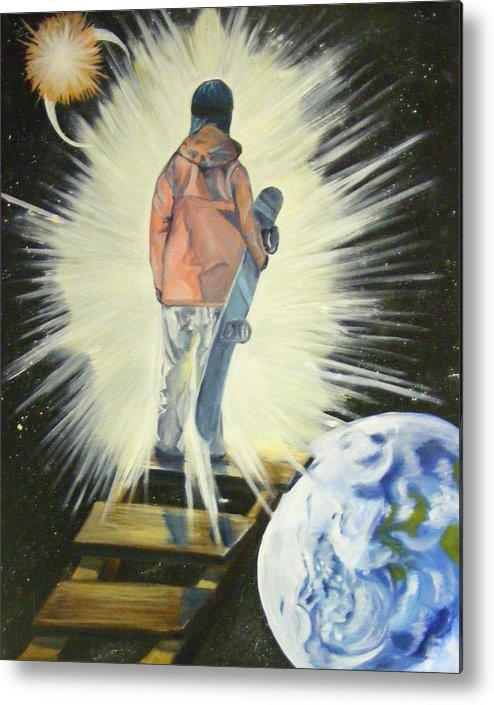 Dream Metal Print featuring the painting The Snowboarder's Dream by Laura Evans