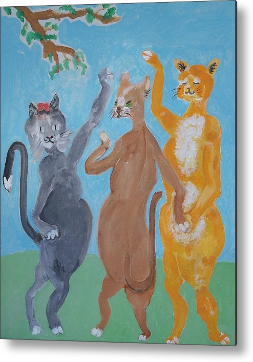 Cats Metal Print featuring the painting The Three Graces - Nobody Said To Wear A Hat by Jay Manne-Crusoe