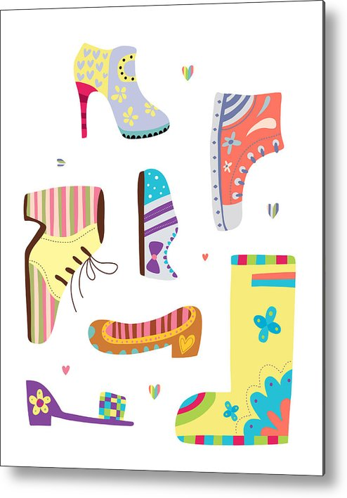 Vertical Metal Print featuring the digital art Various Kinds Of Shoes by Eastnine Inc.