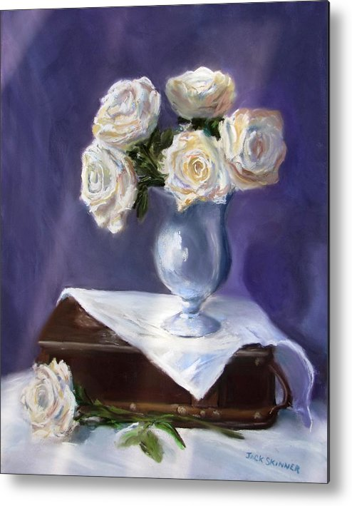 Flowers Metal Print featuring the painting White Roses In A Silver Vase by Jack Skinner