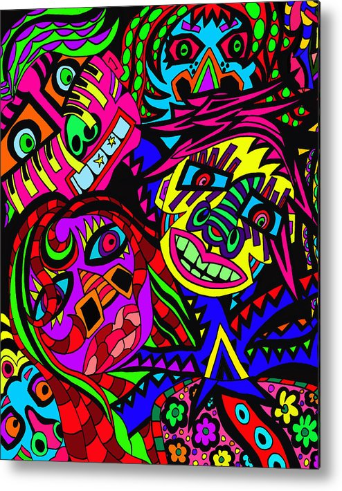 Crowds Metal Print featuring the painting Who Do You See When Facing A Mirror by Karen Elzinga