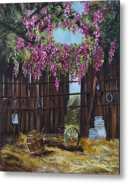 Wisteria Metal Print featuring the painting Wisteria by Jan Holman